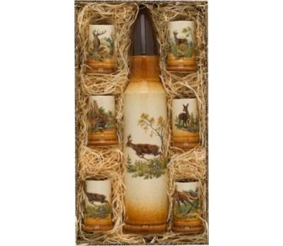 KOZAP butelis šovinio formos su 6 taurelėm